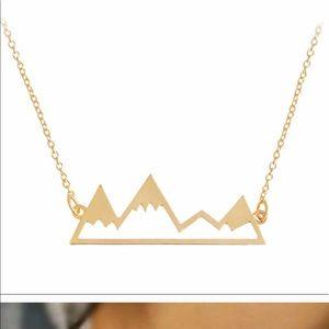 Gold snowcap mountain necklace